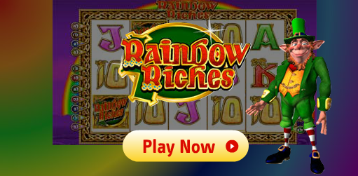 A leprechaun infront of the Rainbow Riches Game